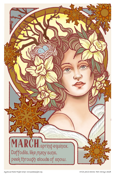 Poster, Syracuse Art, Woman, supple face, fair-skinned, large curly hair with flowers & sun shining