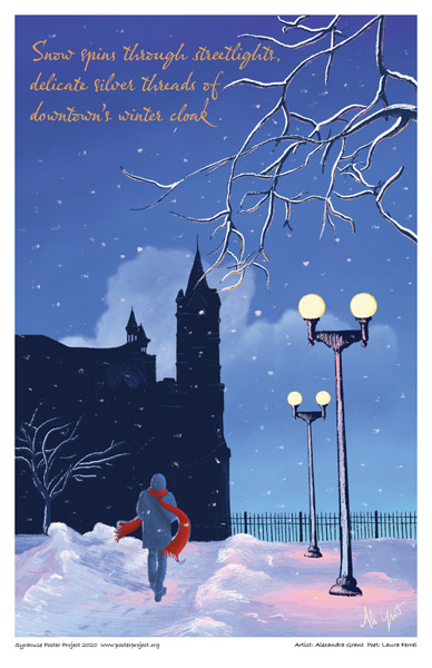 Poster, Syracuse Art, Snow And Street Lights