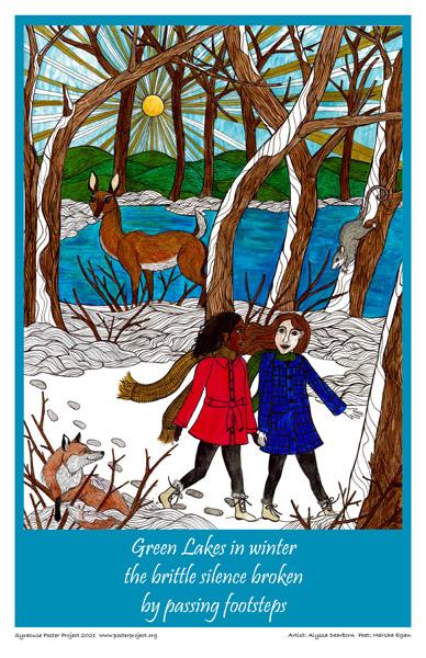 Poster, Syracuse Art, Women Walking at Green Lakes State Park