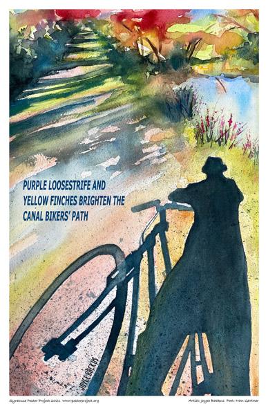 Poster, Syracuse Art, Biker on Erie Canal Bike Path