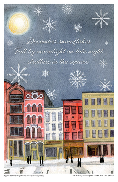 Poster, Syracuse Art, Snowflakes Falling over Hanover Square