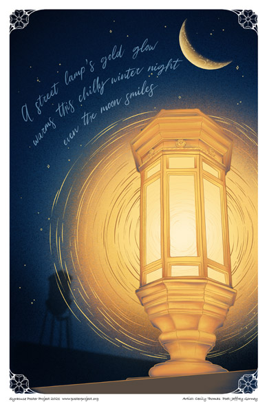 Poster, Syracuse Art, Historic Franklin Square Lamp, Moon, and Water Tower
