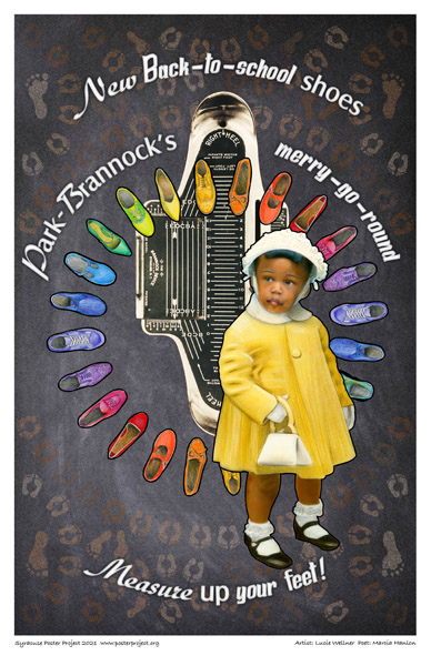 Poster, Syracuse Art, Girl With Purse, Brannock Foot Measuring Device, and Array of Shoes.