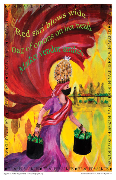 Poster, Syracuse Art, Woman Carrying Bag of Onions on Her Head at Farmers Market