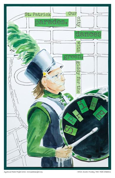 Poster, Syracuse Art, Drummer at St. Patrick's Day Parade