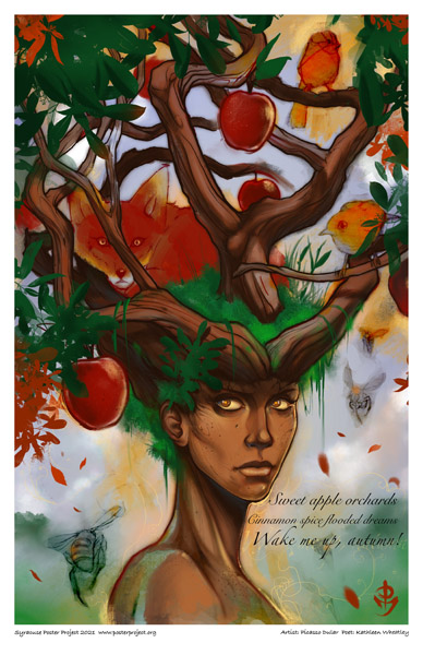 Poster, Syracuse Art, Apple Tree, Earth Mother and Fox Poster