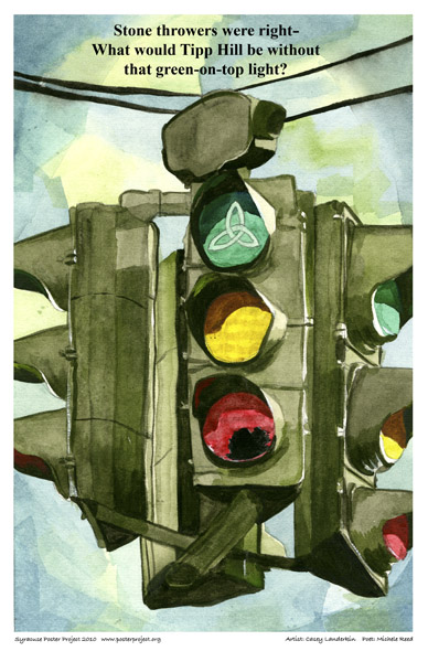 Art Poster, Syracuse, Tipp Hill, Green-on-top Traffic Light