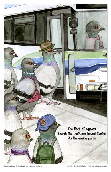 Art Poster, Syracuse, Pigeons, Centro Bus