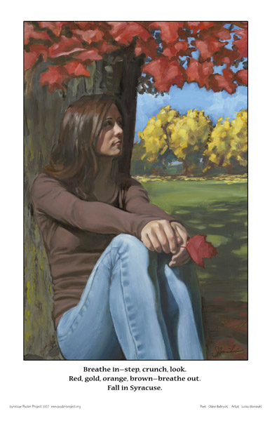 Fall Foliage, Woman, Art Poster, Syracuse
