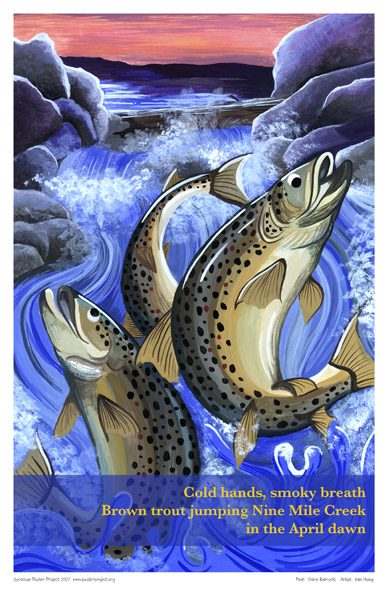 Nine Mile Creek, Jumping Trout, Art Poster, Syracuse