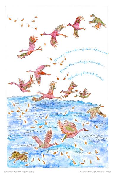 Geese, Onondaga Creek, Art Poster, Syracuse