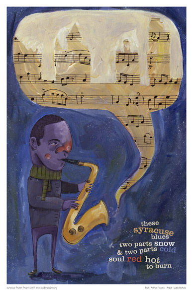 Saxophonist, Saxophone, Blues, Art Poster, Syracuse, Snow, Winter