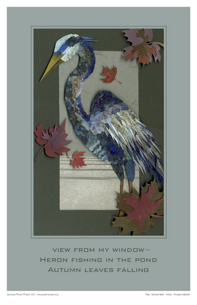 Paper Collage Heron, Art Poster, Syracuse