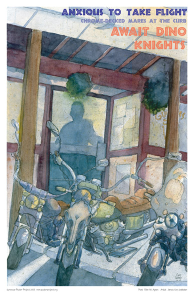 Motorcycles at Dinosaur Barbecue, Art Poster, Syracuse