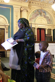 Mother and son at naturalization ceremony